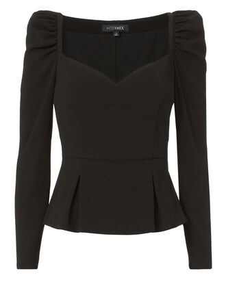 Sydney Puff Sleeve Top, BLACK, hi-res