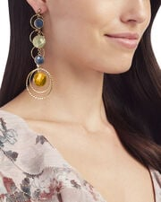 Hammered Stone Drop Layer Earrings, GOLD, hi-res