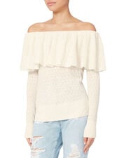 Off-The-Shoulder Lace Sweater, IVORY, hi-res