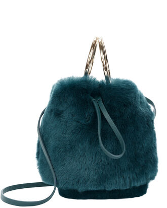 Teal Mini Bucket Crossbody Bag, BLUE, hi-res