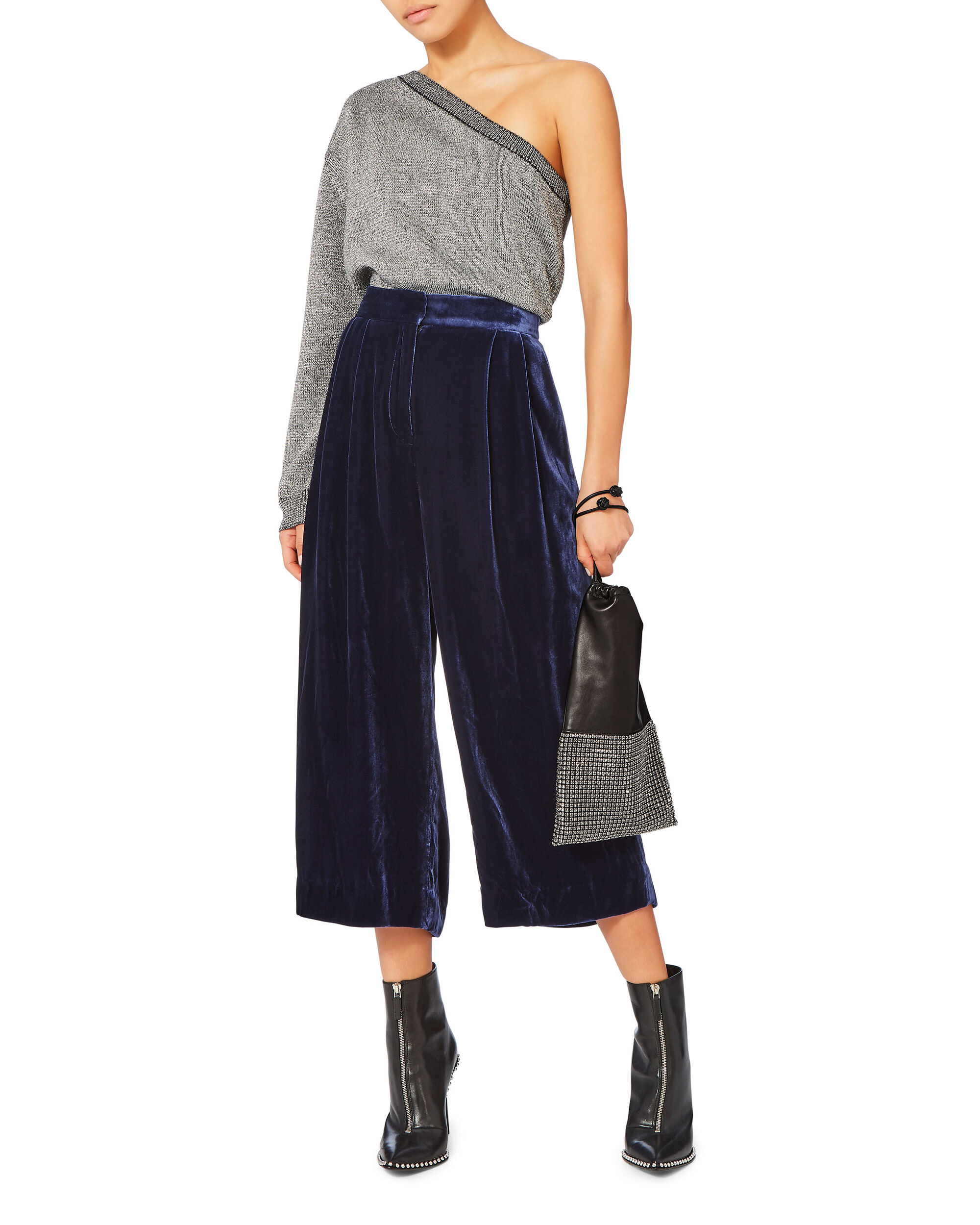 Velvet Wide Leg Cropped Trousers, NAVY, hi-res