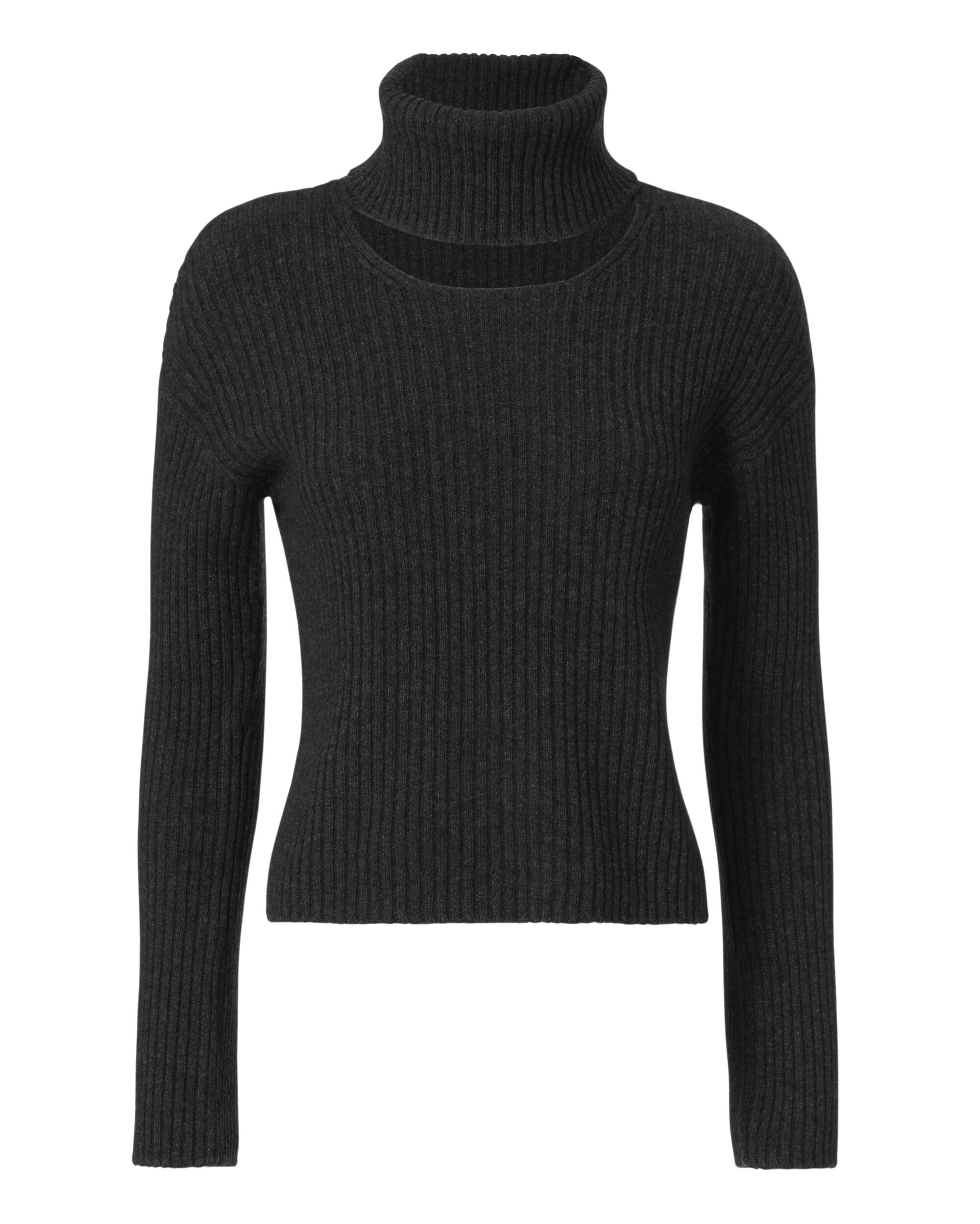 Marcella Turtleneck Cutout Sweater, CHARCOAL, hi-res