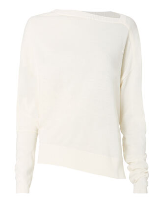 Asymmetrical Neckline Sweater, WHITE, hi-res