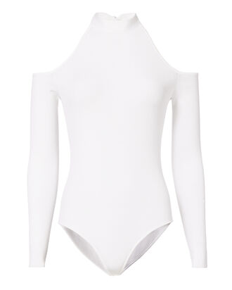 Tie Neck Cold Shoulder White Bodysuit, WHITE, hi-res