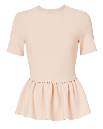 Slashed Knit Peplum Blush Top, NUDE, hi-res