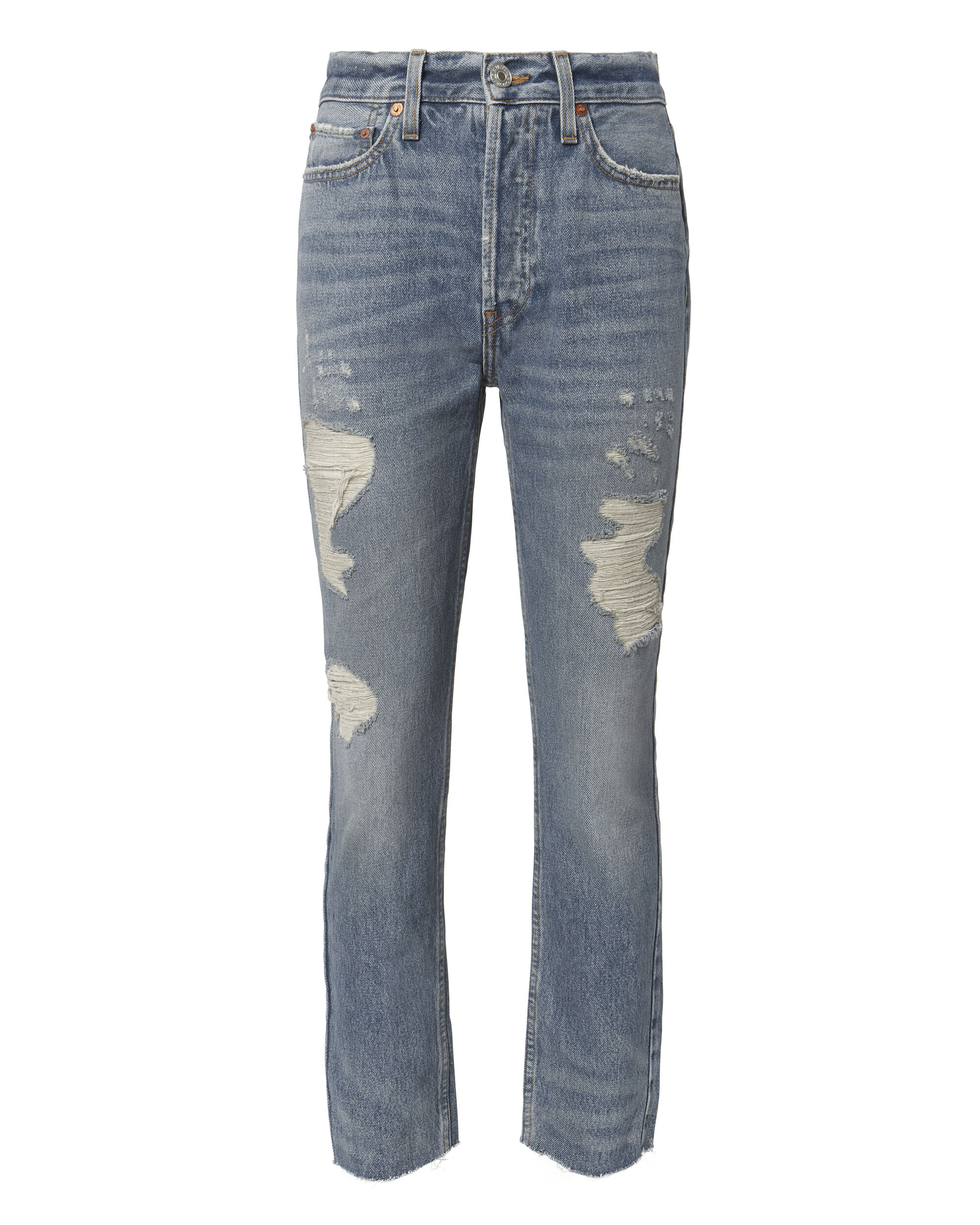 High-Rise Ankle Crop Distressed Jeans, DENIM, hi-res