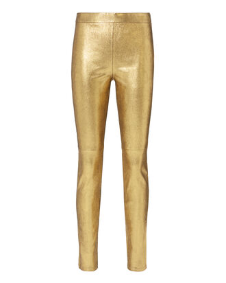 Hartley Stretch Gold Leather Leggings, METALLIC, hi-res