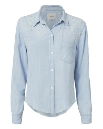 Adrian Pearl-Embellished Shirt, DENIM, hi-res