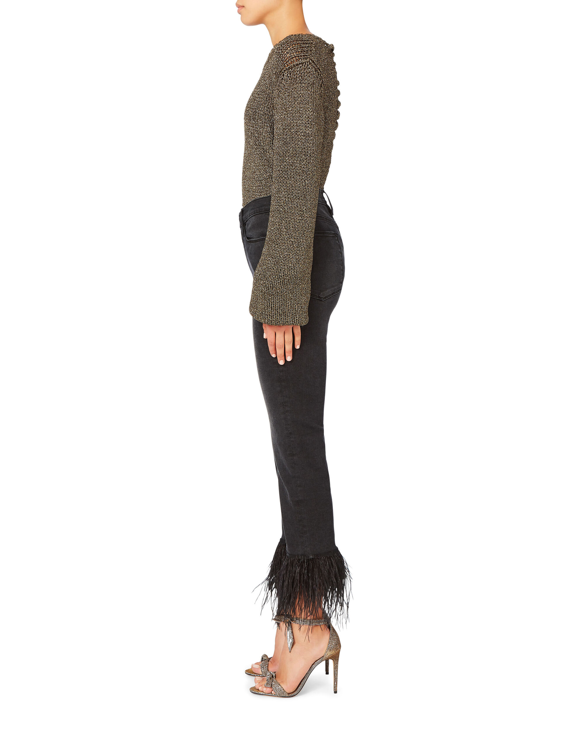 Le High Straight Feather Hem Jeans, BLACK, hi-res