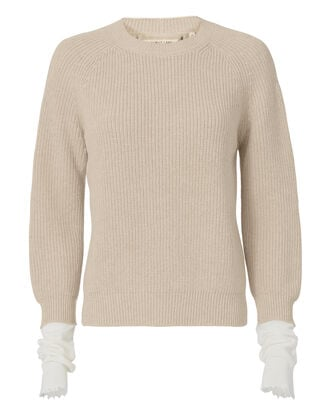 Layered Knit Pullover Sweater, IVORY, hi-res