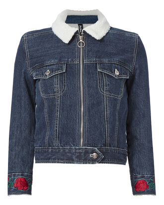 Embroidered Faux Shearling Jean Jacket, DENIM-DRK, hi-res