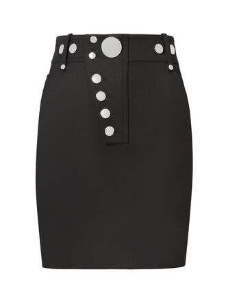 High-Waisted Snap Mini Skirt, BLACK, hi-res