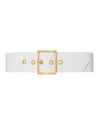 White Leather Belt, WHITE, hi-res