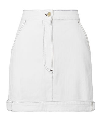 Paige White Denim Mini Skirt, WHITE, hi-res