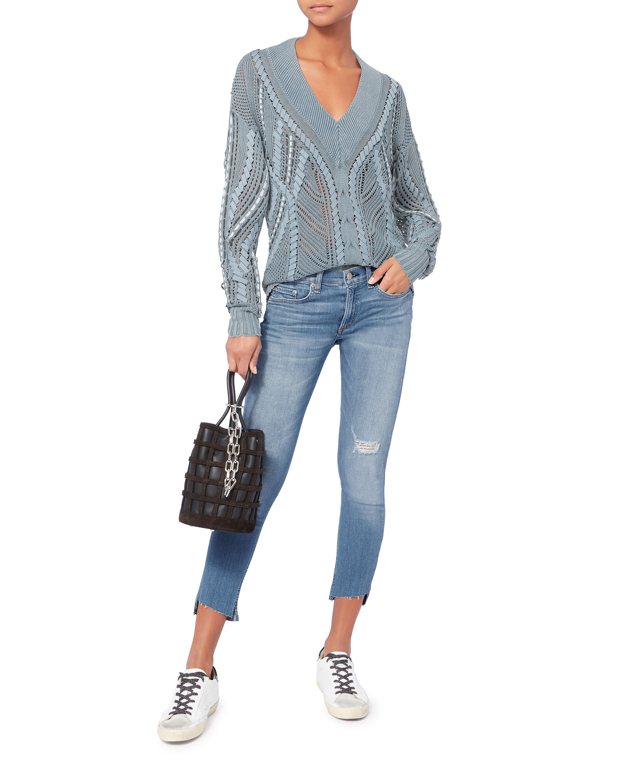 Lucie Pointelle Knit Sweater, BLUE, hi-res