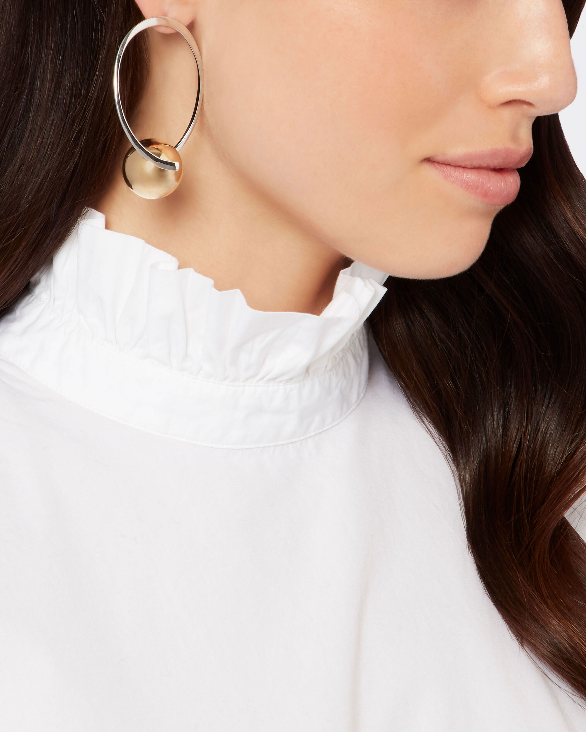 Gold-Tone Ball Accented Hoops, METALLIC, hi-res