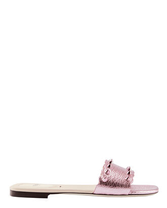 Pink Metallic Studded Slide Sandals, PINK, hi-res
