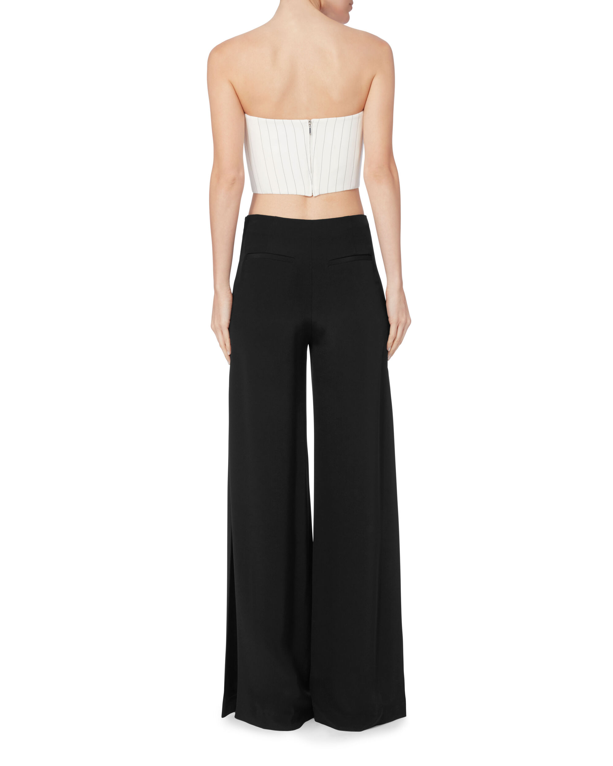 Wide Leg Side Pleat Pants, BLACK, hi-res