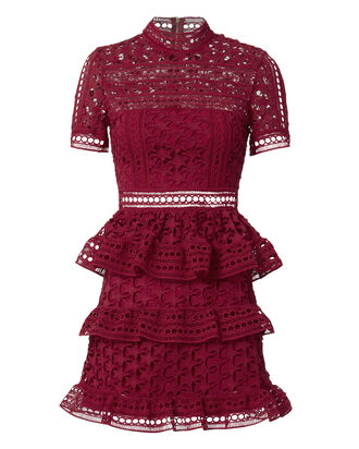 Star Lace Red Mini Dress, RED, hi-res