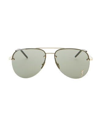 Classic 11 Gold Logo Aviator Sunglasses, GREEN, hi-res