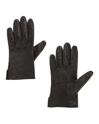 Black Leather Driver Gloves, BLACK, hi-res