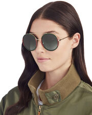 Bi-Color Round Aviator Sunglasses, METALLIC, hi-res
