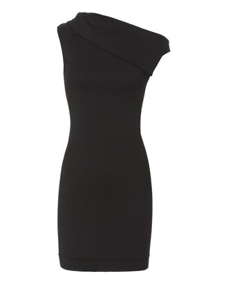 Asymmetric Mini Dress, BLACK, hi-res