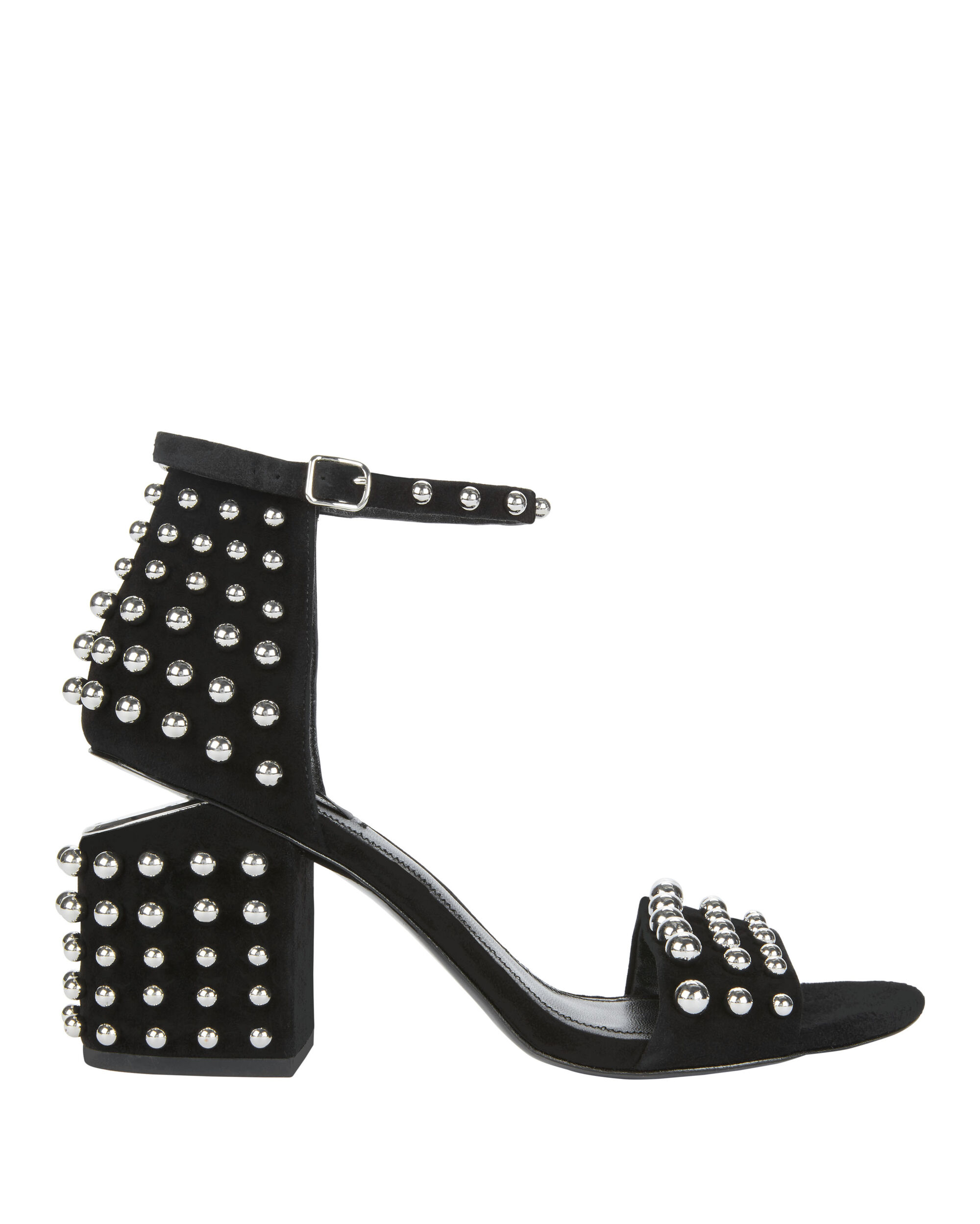 Abby Studded Black Suede Sandals, BLACK, hi-res