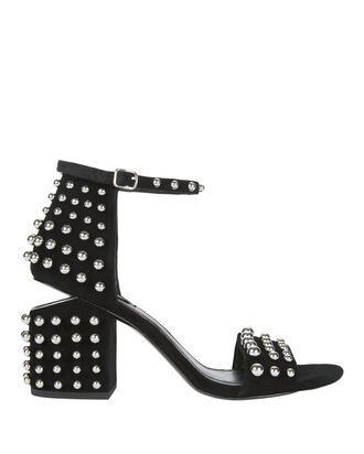Abby Studded Black Leather Sandals, BLACK, hi-res