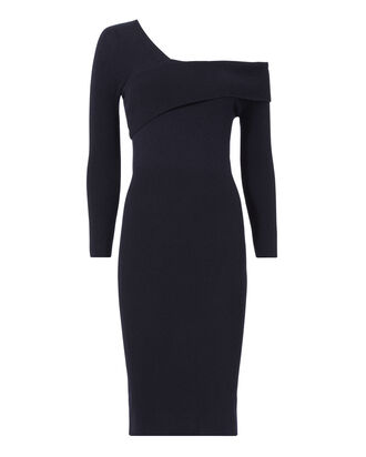 Asymmetric One Shoulder Sweater Dress, NAVY, hi-res
