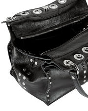 Grommet And Stud Shoulder Bag, BLACK, hi-res