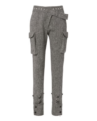 Herringbone Cargo Pants, GREY, hi-res
