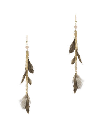 Selva Feather Fringe Earrings, METALLIC, hi-res