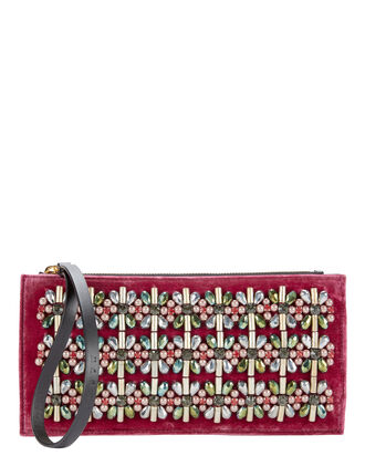 Embellished Red Velvet Clutch, RED, hi-res