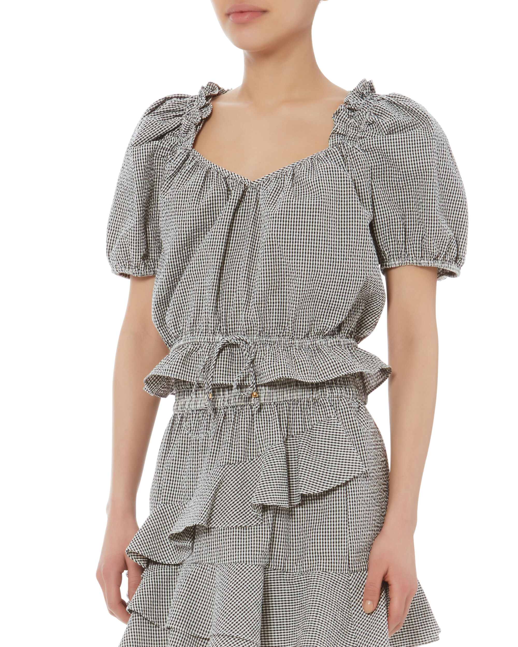 Greta Cropped Puff-Sleeved Top, BLK/WHT, hi-res