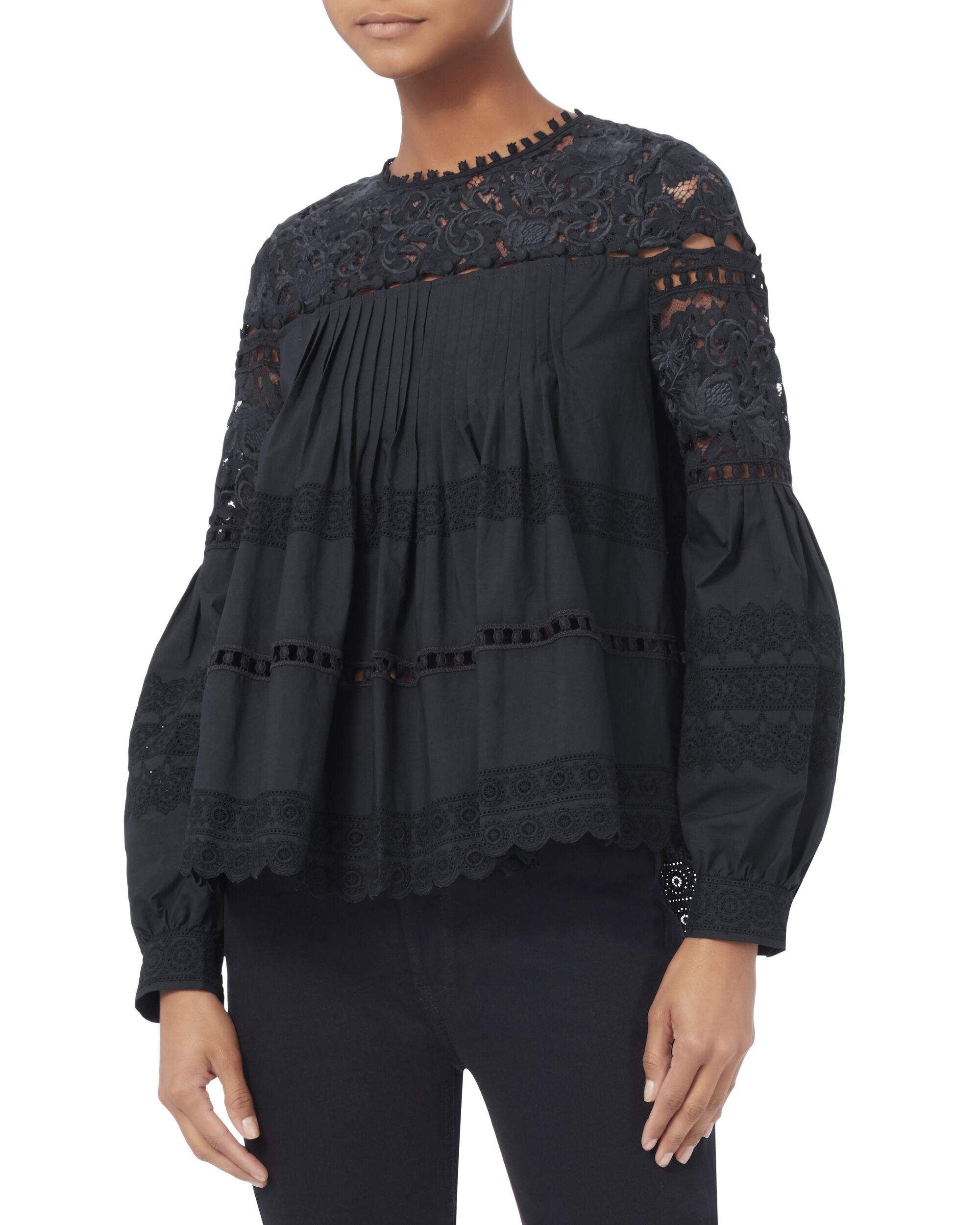 Lace Pleated Blouse, NAVY, hi-res