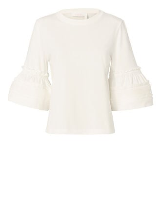 Ruffle Detail Flared Sleeve Top, WHITE, hi-res