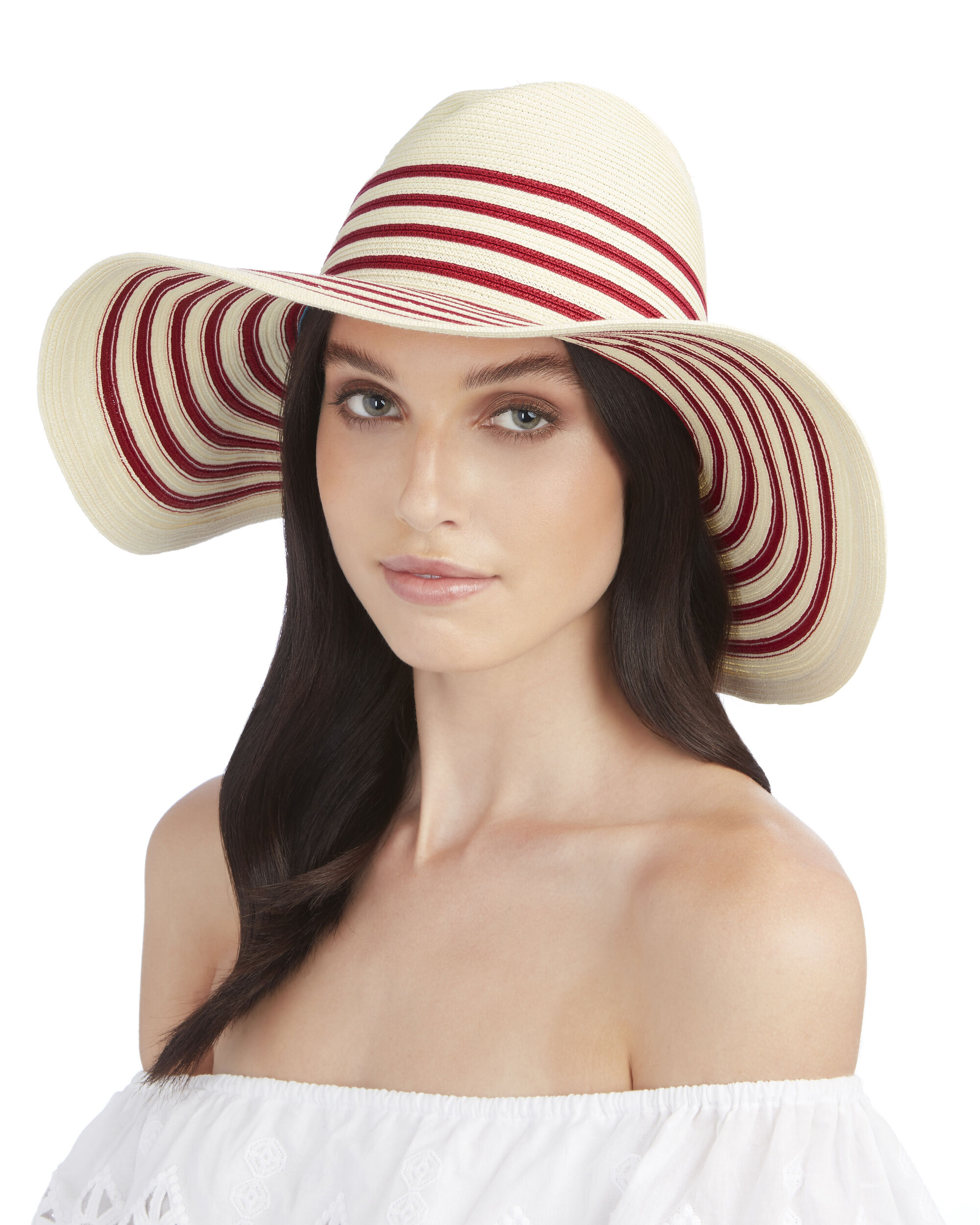 Breton Striped Wide Brim Sun Hat, CBK-RED, hi-res