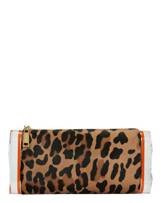 Lara Leopard Haircalf Clutch, PRINT, hi-res