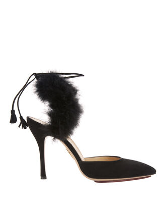 Tango Marabou Feather Suede Pumps, BLACK, hi-res
