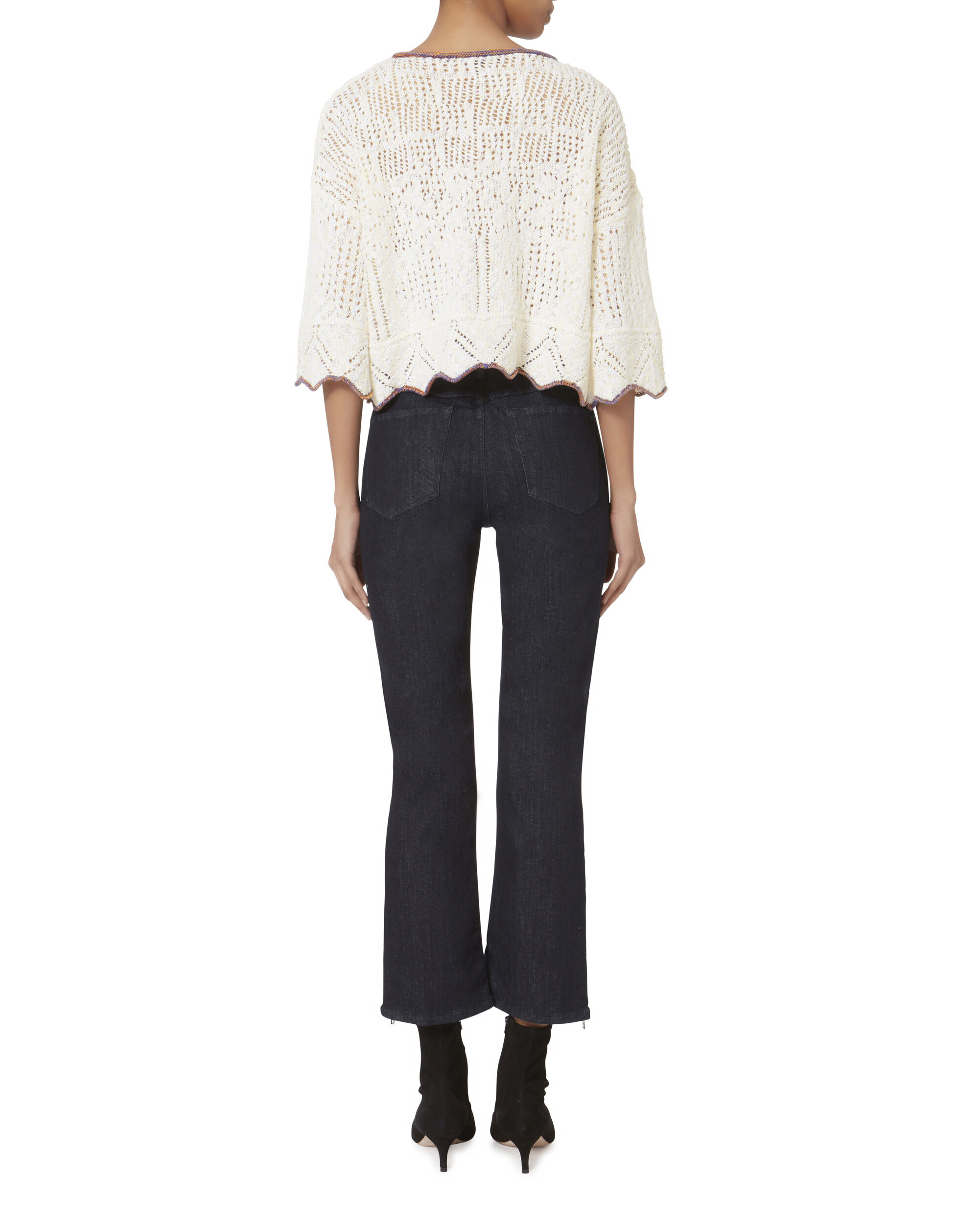 Pointelle Knit Cropped Pullover, IVORY, hi-res