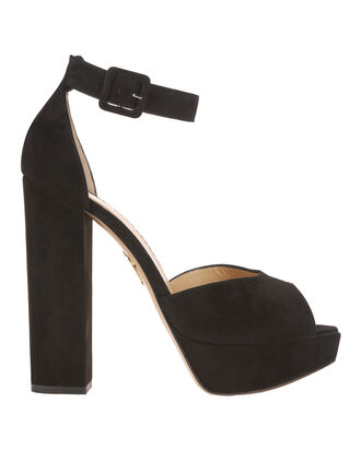 Eugenie Suede Peep-Toe Sandals, BLACK, hi-res