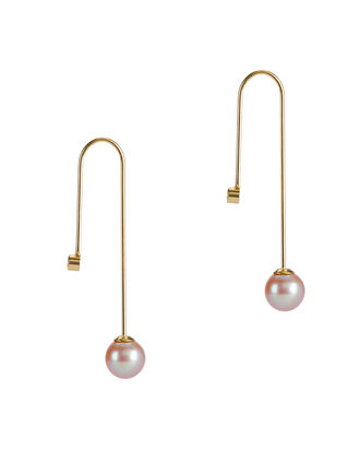 Veritti Pearl Hook Earrings, GOLD, hi-res
