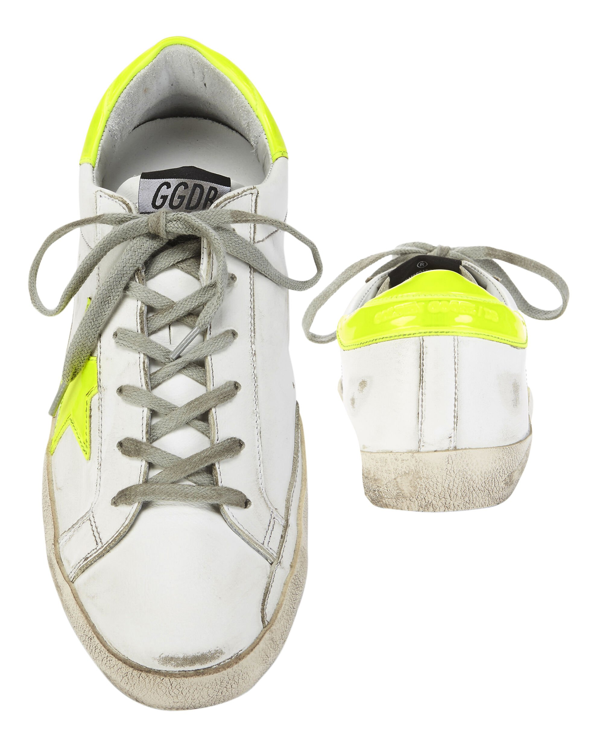 Superstar Neon Yellow Star Sneakers, WHITE, hi-res