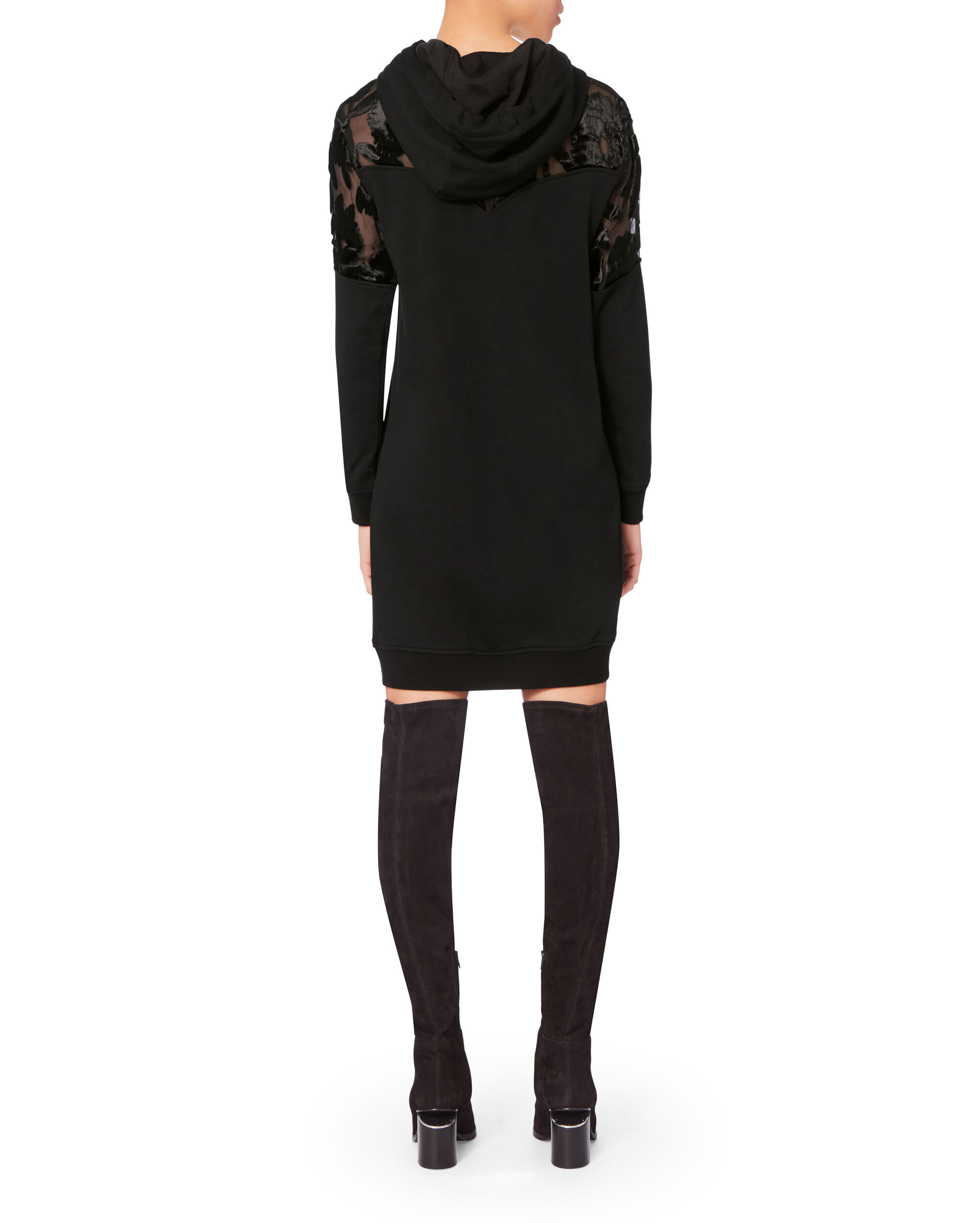 Devore Short Mix Hoodie Dress, BLACK, hi-res
