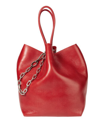 Roxy Large Red Leather Tote, RED, hi-res