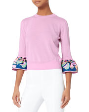 Printed Ruffle Knit Sweater, PINK, hi-res