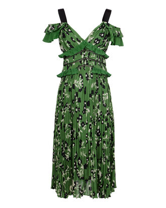 Cold Shoulder Floral-Printed Dress, GREEN, hi-res