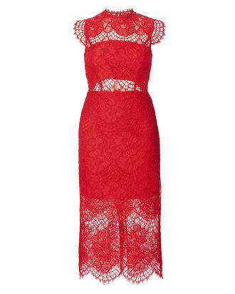 Lila Lace Midi Dress, RED, hi-res