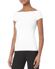 Boat Neck White Seamless Top, WHITE, hi-res